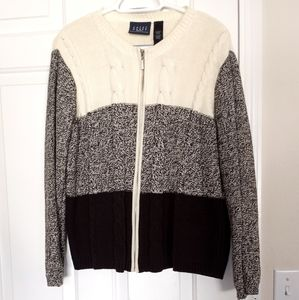 Crazy horse color block cable knit full zip sweate